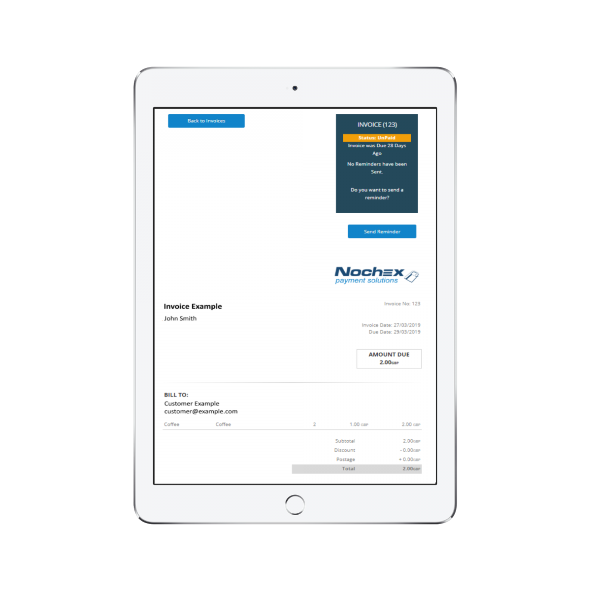 taking invoice payments online with nochex